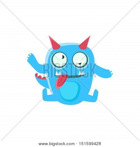 Dizzy Blue Monster With Horns And Spiky Tail. Silly Childish Drawing Isolated On White Background. Funny Fantastic Animal Colorful Vector Sticker.
