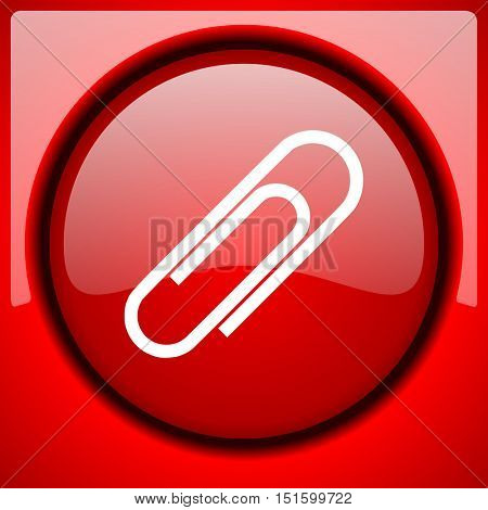 paperclip red icon plastic glossy button