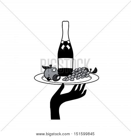 Vector icon of human hand with a tray with drinks and fruit