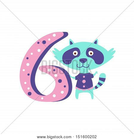 Raccoon Standing Next To Number Six Stylized Funky Animal. Weird Colorful Flat Vector Illustration For Kids On White Background,