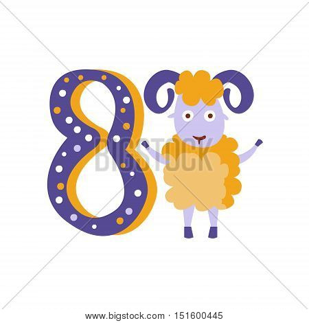 Ram Standing Next To Number Eight Stylized Funky Animal. Weird Colorful Flat Vector Illustration For Kids On White Background,