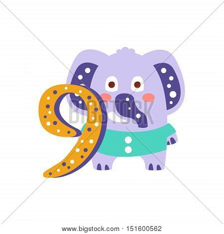 Elephant Standing Next To Number Nine Stylized Funky Animal. Weird Colorful Flat Vector Illustration For Kids On White Background,
