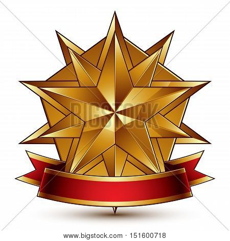 Vector complicated glossy design element luxury 3d polygonal golden star placed on a decorative blazon
