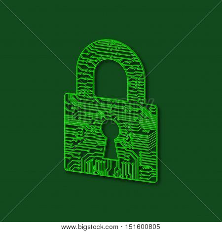 Abstract lock for doors. Electronic chip lock. Vector illustration.