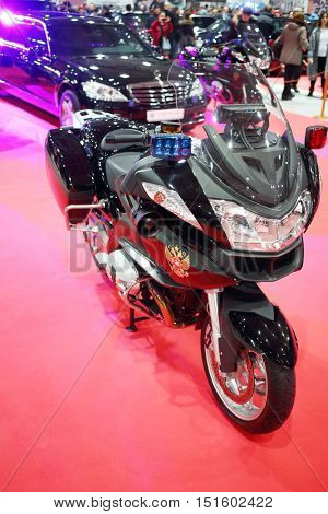 MOSCOW - MAR 07, 2016: Motorcycle from Garage of special function for high-class cars at exhibition Oldtimer-Gallery in Sokolniki Exhibition Center. It is only one in Russia exhibition of vintage cars
