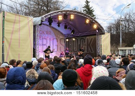 MOSCOW - MAR 12, 2016: Crowd and concert of Naik Borzov during Shrovetide in Sokolniki Park