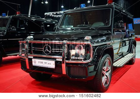 MOSCOW - MAR 07, 2016: Black Mercedes SUV for cortege at exhibition Oldtimer-Gallery in Sokolniki Exhibition Center. It is only one in Russia exhibition of vintage cars and technical antiques