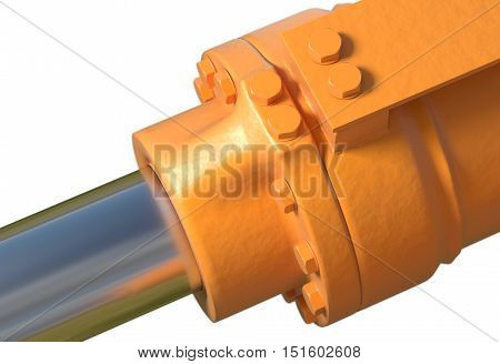 yellow hydraulic pistons with bolt and nut on white 3d render