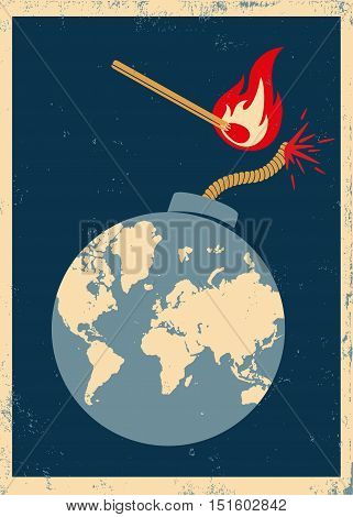 Vector vintage poster with bomb and match