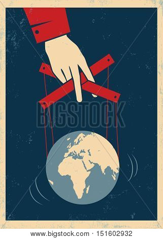 Vector vintage poster with hand controls Earth like a puppet