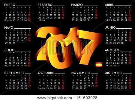 2017 elegant black calendar in spanish. Year 2017 calendar. Calendar 2017. calendario 2017.
