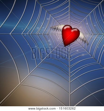 Hearts Caught in Web  3D Render