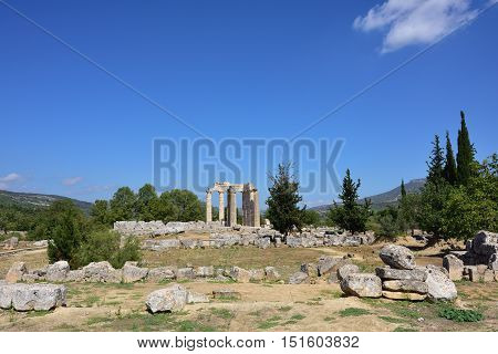 The temple of Zeus in the ancient Nemea archeological site Peloponnese Greece