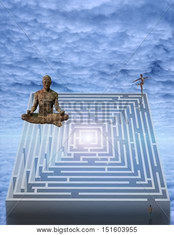Meditation man and puzzle  3D Render