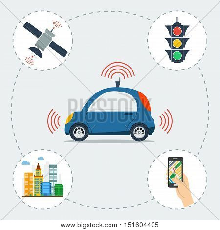 Vector infographic of self driving car. Blue small autonomous driverless machine with icons of traffic light, city, satellite and smart phone app. Future technologies in flat style