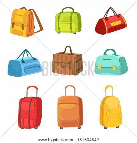 Suitcases And Other Baggage Bags Set Of Icons. Bright Color Isolated Illustrations In Simplified Childish Vector On White Background,