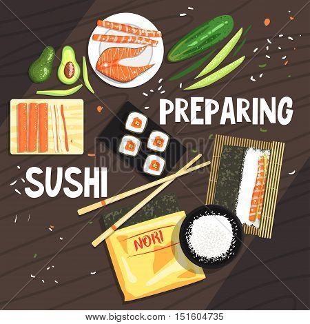 Preparing Sushi Ingredients And Technique. National Cuisine Dish Cooking Process Illustration With Text. Vector Cute Cartoon Simple Drawing.