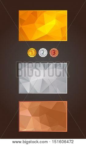 Gold, silver and bronze cards or backgrounds and medals set in polygonal style. Gift, voucher, certificate template, vector illustration