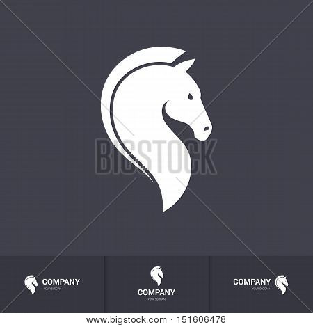 Stylized Horse Head for Mascot Logo Template on Dark Background