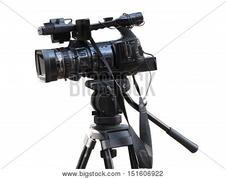 TV Professional studio digital video camera isolated on white background