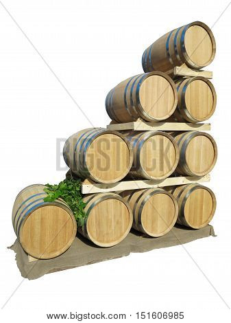 New Brown Wine Barrels In A Wooden Stack Isolated Over White