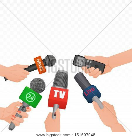 Interview news microphones and voice recorder in hands of reporters journalist press conference. Hot news banner template poster