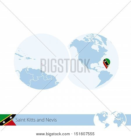 Saint Kitts And Nevis On World Globe With Flag And Regional Map Of Saint Kitts And Nevis.