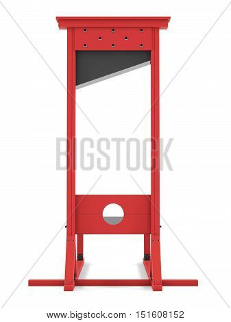 Guillotine on a white background. 3D rendering