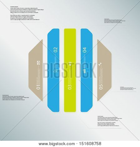 Octagon Illustration Template Consists Of Five Color Parts On Light Blue Background
