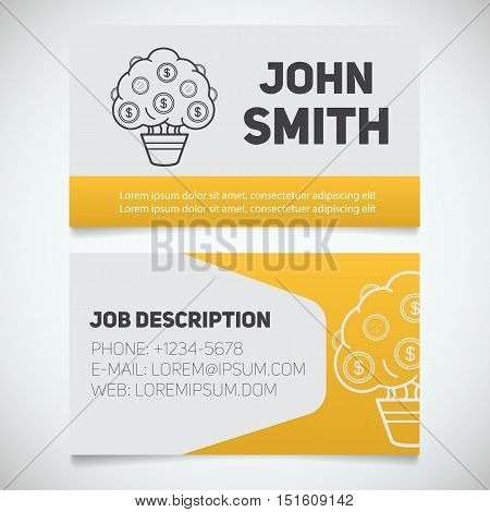 Business card print template with money tree logo. Easy edit. Businessman. Investor. Financier. Stationery design concept. Vector illustration