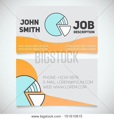 Business card print template with diagram logo. Easy edit. Marketer. Analyst. Economist. Stationery design concept. Vector illustration