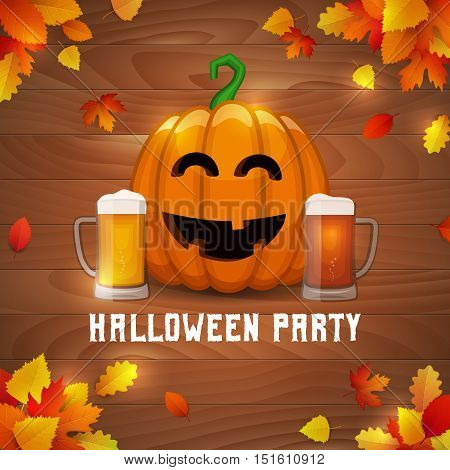 Halloween pumpkin beer party. Vector drunk pumpkin with two mugs of craft beer on fallen leaves background