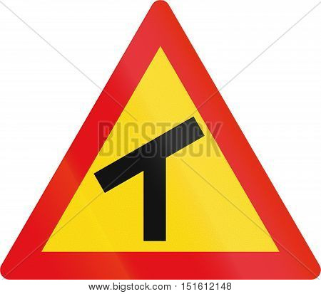Temporary Road Sign Used In The African Country Of Botswana - Skewed T-junction