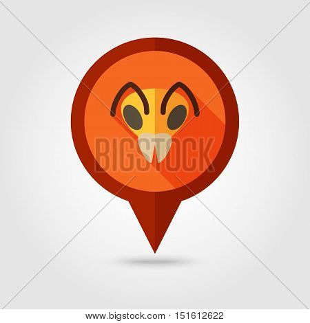 Bee wasp bumblebee flat pin map icon. Map pointer. Map markers. Animal head vector symbol eps 10