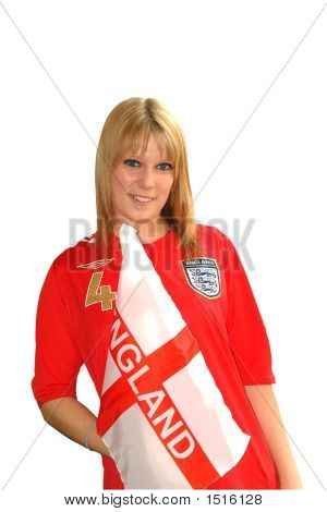 England Girl Over White