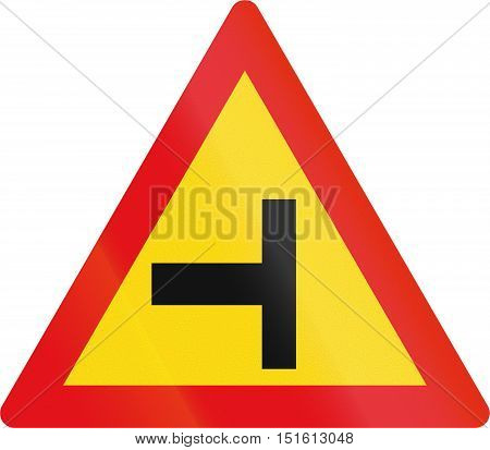 Temporary Road Sign Used In The African Country Of Botswana - Side Road Junction From The Left