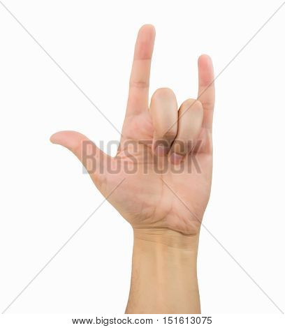 Hand raised up for the rock on gesturing on white background