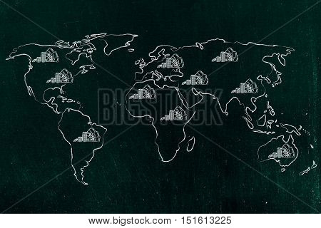 Map Of The World With Cash, Global Finance & Corporate Profits