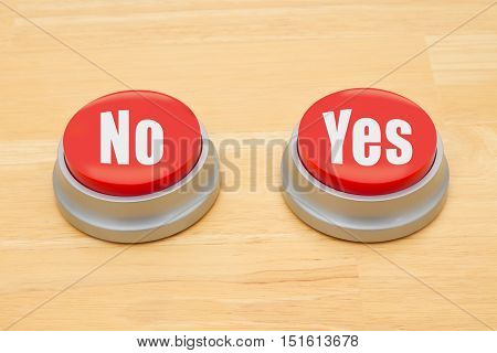 Making a decision between yes and no Two red and silver push button on a wooden desk with text No and Yes