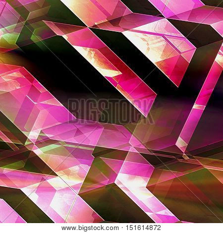 Abstract futuristic background with blocks. Polygonal red, pink, white and green futuristic background of polygonal spatial shapes and intersecting lines