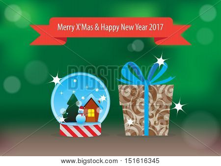 Snow Globe and gift box with red greeting ribbon for the Christmas and New year 2017 on the green backgrond with bokeh