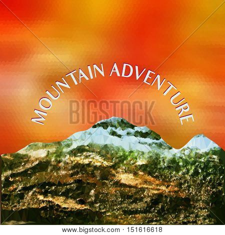 Mountain landscape with peaks covered with ice and red sky. Polygonal red and yellow background with mountains of crystals