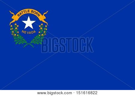 Nevadan official flag symbol. American patriotic element. USA banner. United States of America background. Flag of the US state of Nevada in correct size proportions and colors vector illustration