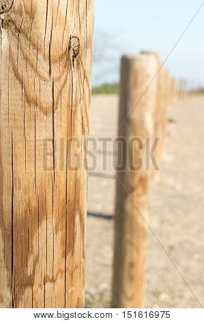 detail of wooden fence in the country side