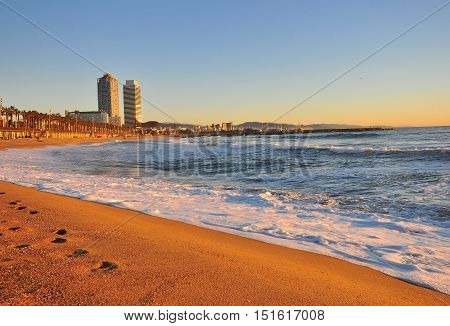View of the beach of Barcelona city Spain