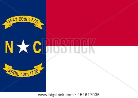 North Carolinian official flag symbol. American patriotic element. USA banner. United States of America background. Flag of the US state of North Carolina in correct size colors vector illustration