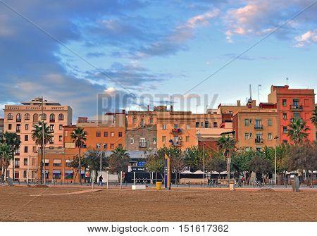 BARCELONA - DECEMBER 6: View of Barceloneta district of Barcelona city on December 6 2014. Barcelona is the secord largest city of Spain.