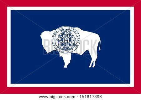 Wyomingite official flag symbol. American patriotic element. USA banner. United States of America background. Flag of the US state of Wyoming in correct size proportions colors vector illustration