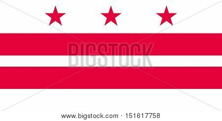 Washington D.C. official flag symbol. American patriotic element. USA banner. United States of America background. Flag of the District of Columbia in correct size and colors vector illustration