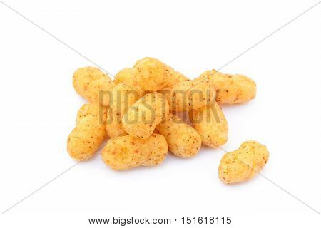 Peanut puffs and corn isolated with white background
